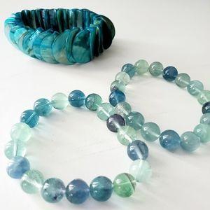 Jay King Green Turquoise Set/3 Stretch Bracelets